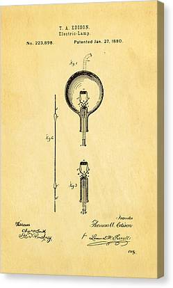 Edison Electric Lamp Patent Art 1880 Canvas Print by Ian Monk