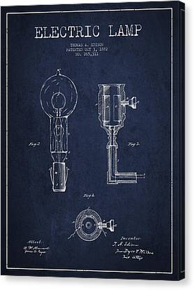 Incandescent Canvas Print - Edison Electric Lamp Patent From 1882 - Blue by Aged Pixel