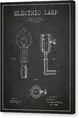 Incandescent Canvas Print - Edison Electric Lamp Patent From 1882 - Dark by Aged Pixel