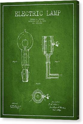 Incandescent Canvas Print - Edison Electric Lamp Patent From 1882 - Green by Aged Pixel