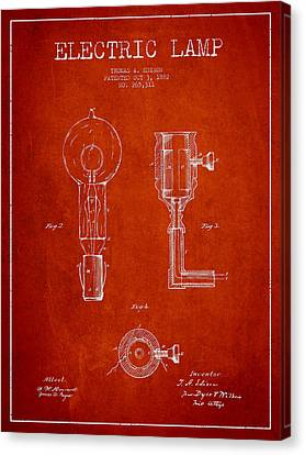 Incandescent Canvas Print - Edison Electric Lamp Patent From 1882 - Red by Aged Pixel