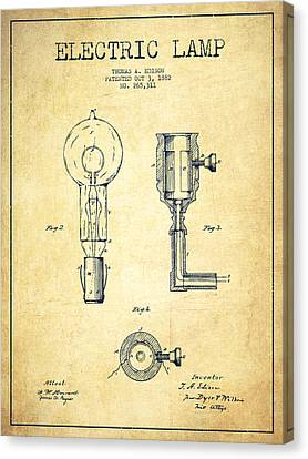 Incandescent Canvas Print - Edison Electric Lamp Patent From 1882 - Vintage by Aged Pixel