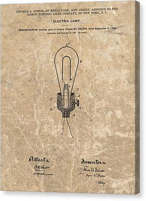 Edison Electric Lamp Patent Marble Canvas Print by Dan Sproul