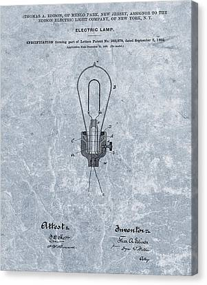 Edison Electric Lamp Patent Orginal File Canvas Print