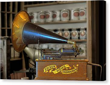 Edison Home Phonograph With Morning Glory Horn Canvas Print by Christine Till