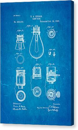 Thomas Alva Edison Canvas Print - Edison Lamp Base Patent Art 1890 Blueprint by Ian Monk