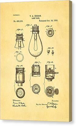 Thomas Alva Edison Canvas Print - Edison Lamp Base Patent Art 1890 by Ian Monk