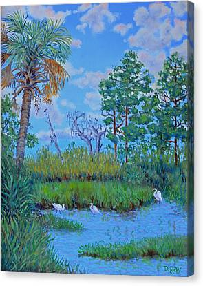 Edisto Egret Hideaway Canvas Print by Dwain Ray