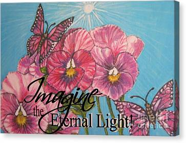 Imagine The Eternal Light Pansy Pinwheels Receive The Light From The Son Canvas Print by Kimberlee Baxter