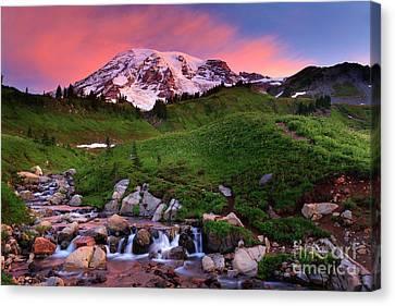 Volcano Rock Canvas Print - Edith Creek Sunrise by Inge Johnsson