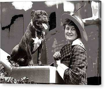 Edith Gracie Dog Show Harris And Ewing Collection Glass Negative Washington D.c. 1915-2014  Canvas Print by David Lee Guss