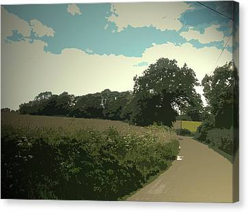 Old School Houses Canvas Print - Edlaston Lane, Looking Towards Edlaston Hall From A Road by Litz Collection