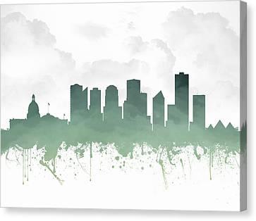 Edmonton Alberta Skyline - Teal 03 Canvas Print by Aged Pixel