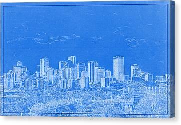 Lincoln Park Lagoon Canvas Print - Edmonton Canada Blueprint by Celestial Images