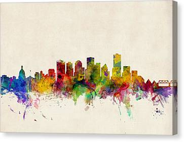 Edmonton Canada Skyline Canvas Print by Michael Tompsett