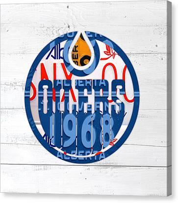 Edmonton Oilers Hockey Team Retro Logo Vintage Recycled Alberta Canada License Plate Art Canvas Print by Design Turnpike