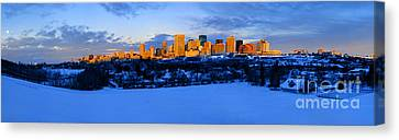 Edmonton Winter Skyline Panorama 1 Canvas Print
