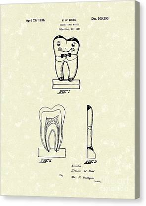 Educational Tooth 1938 Patent Art Canvas Print by Prior Art Design