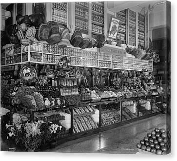 Grocery Store Canvas Print - Edw. Neumann, Broadway Market, Detroit, Michigan, C.1905-15 Bw Photo by Detroit Publishing Co.