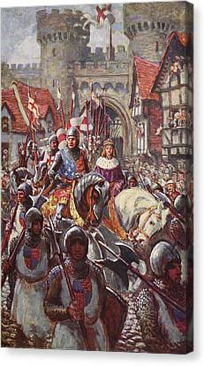 Entrance Canvas Print - Edward V Rides Into London With Duke by Charles John de Lacy