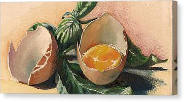 Egg And Basil Canvas Print by Alessandra Andrisani