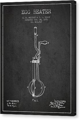 Egg Beater Patent From 1891 - Dark Canvas Print by Aged Pixel