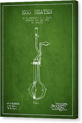 Egg Beater Patent From 1891 - Green Canvas Print by Aged Pixel