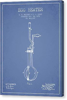 Egg Beater Patent From 1891 - Light Blue Canvas Print by Aged Pixel