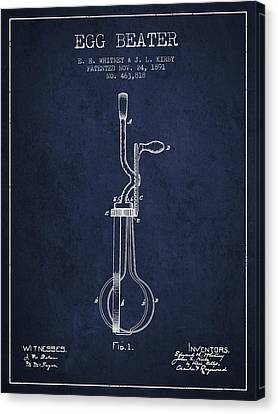 Egg Beater Patent From 1891 - Navy Blue Canvas Print by Aged Pixel