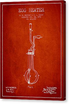 Egg Beater Patent From 1891 - Red Canvas Print by Aged Pixel