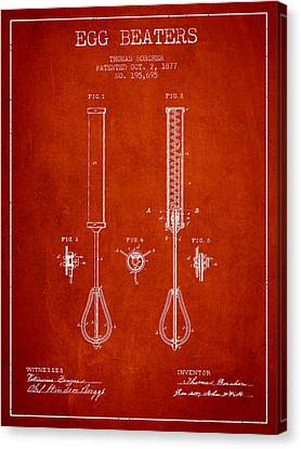 Egg Beaters Patent From 1877 - Red Canvas Print by Aged Pixel