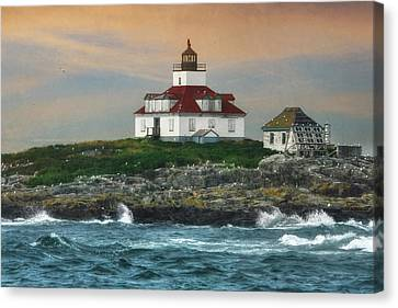 Egg Rock Lighthouse Canvas Print by Lori Deiter