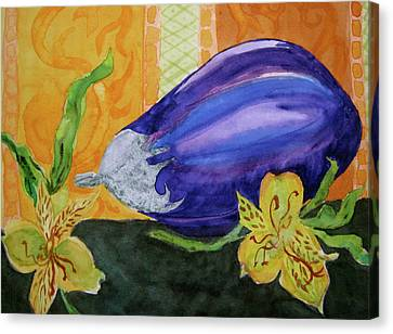 Canvas Print featuring the painting Eggplant And Alstroemeria by Beverley Harper Tinsley