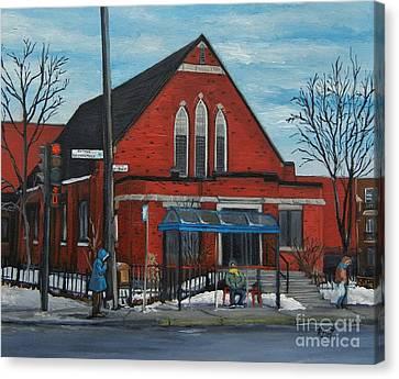 Montreal Streets Montreal Street Scenes Canvas Print - Eglise Baptiste Evangelique De La Grace De Verdun  by Reb Frost