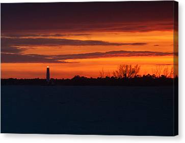 Egmont Key Lighthouse Sunset Canvas Print by Paul Rebmann