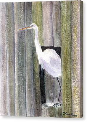 Egret At John's Pass Canvas Print by Mickey Krause