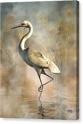 Sand Dunes Canvas Print - Egret by Daniel Eskridge