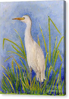Canvas Print featuring the painting Egret Morning by Anna Skaradzinska