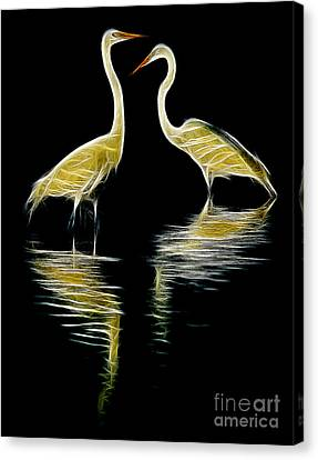 Canvas Print featuring the photograph Egret Pair by Jerry Fornarotto