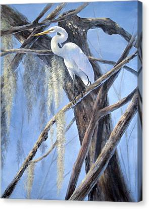 Canvas Print featuring the painting Egret Perch by Mary McCullah
