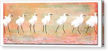 Blending Canvas Print - Egrets Flamingoed by Jennie Breeze