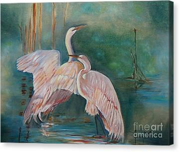 Egrets In The Mist Canvas Print by Jenny Lee