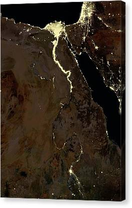 Egypt At Night Canvas Print by Planetobserver