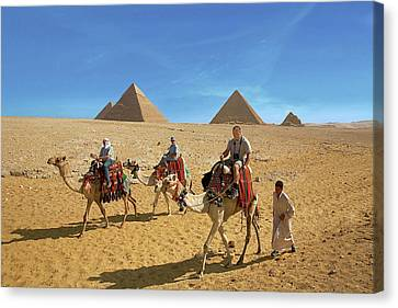 Tomb Canvas Print - Egypt, Cairo, Giza, Tourists Ride by Miva Stock