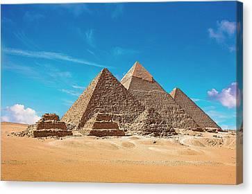 Egypt, Cairo, Giza, View Of All Three Canvas Print by Miva Stock