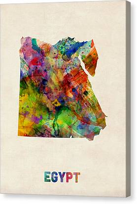 Egypt Watercolor Map Canvas Print by Michael Tompsett