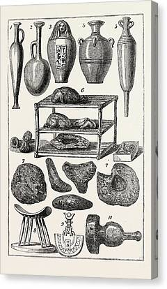 Antiquities Canvas Print - Egyptian Antiquities 1, 2, 3, 4,5. Bottles And Vases. 6 by Litz Collection