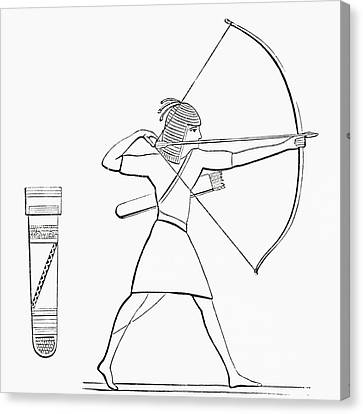 Ancient Egyptian Canvas Print - Egyptian Archer And Quiver.  From The Imperial Bible Dictionary, Published 1889 by Bridgeman Images