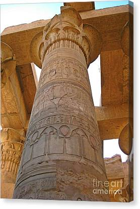 Egyptian Column With Hieroglyphics Canvas Print by John Malone