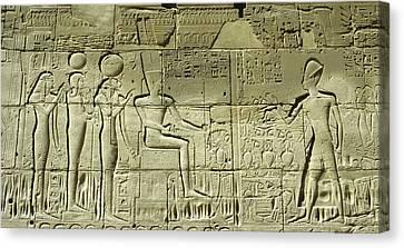 Egyptian Hieroglyphs On The Wall Canvas Print